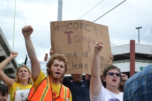 "Tampa Protesters: ""Welcome to Tampa"""